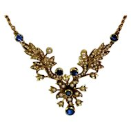 Antique Victorian Sapphire Pearl 15 ct Gold Floral Necklace