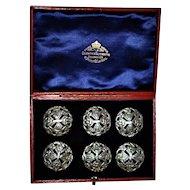 Sterling Silver Button Set London 1898  Arts & Crafts Goldsmiths&Silversmiths Co. Large