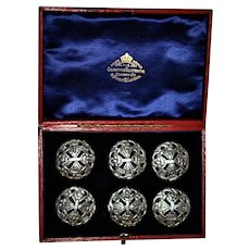 Sterling Silver Button Set London 1898  Arts & Crafts Goldsmiths&Silversmiths Co. Large