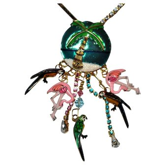 Vintage Lunch At the Ritz  Flamingo Parrot Necklace/Brooch
