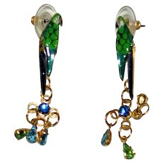 "Vintage ""LUNCH at The RITZ""   Parrot Earrings"