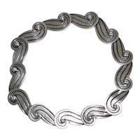 1940's Mexican Silver Wave Necklace Los Castillo Taxco
