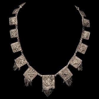 Antique Silver Filigree Tassle  Necklace C 1870