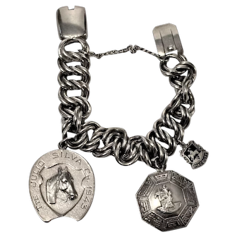 Vintage Peru Heavy Silver Equestrian Medallion Bracelet  87 grams