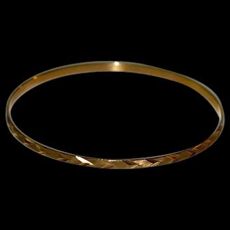 Vintage 14 kt Solid Gold Textured NUPTIA  Bangle Bracelet