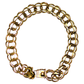 10 kt Gold Double Link Charm Bracelet  16.49 grams