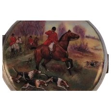 BIRKS Silver Enamel Powder Compact Equestrian Scene