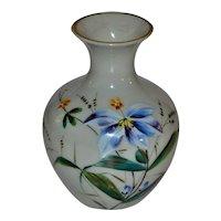 1800's  French Opaline Glass Enameled Vase
