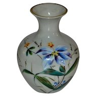 1800's  French Opaline Glass Enameled Vase