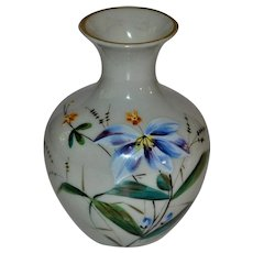Antique French Opaline Glass Enameled Vase