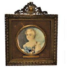 Antique French Portrait Miniature Signed