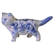 1800's Dutch Delft Pottery Cat Figurine