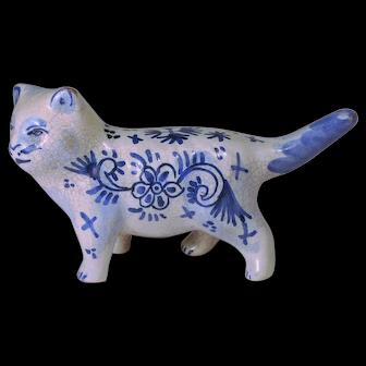 1800's Dutch Delft Pottery Cat Figurine