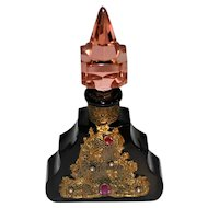 Art Deco Czech Glass Perfme Bottle Ormolu Jeweled