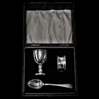 1932 English  Sterling Silver Christening Eggcup Set
