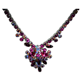 Vintage SHERMAN Signed Fuschia Aurora Crystal Necklace Stunning