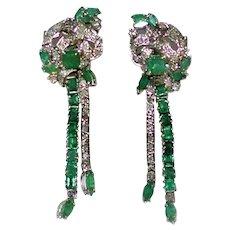 Art Deco Platinum Emerald Diamond Long Earrings