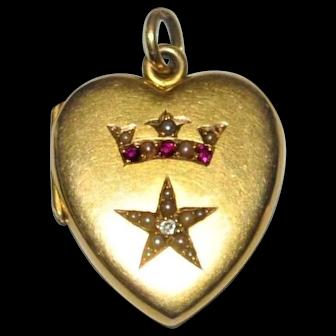19th Century  14 kt Gold  Heart  Crown Star Locket