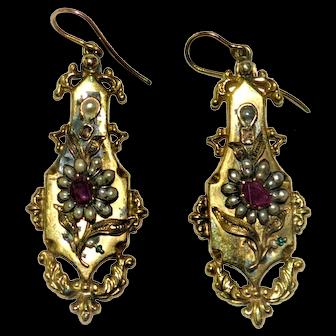 Georgian Earrings 15 kt gold