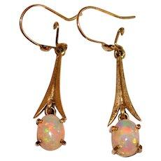 Vintage Opal Gold Drop Earrings