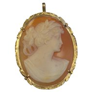 Vintage 14kt Gold Shell Cameo Greek Muse Terpsichore