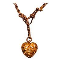 Victorian Bracelet English Rose Gold Puffy Heart  Fob Slide