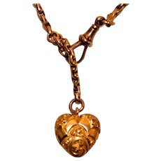 Victorian English Rose Gold Puffy Heart Bracelet