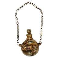 Vintage Miniature  Jeweled Gold Perfume Bottle