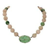 Chinese Jade /Rose Quartz /Silver Shou  Bead Necklace c 1900