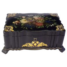 Antique English Papier Mache Pearl Sewing Box 1800's