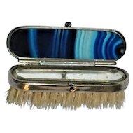 Old Blue Banded Agate Case/Brush