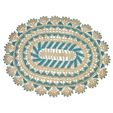Old Beaded Crocheted Turquoise Doily