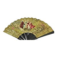 Antique Fan Embroidered Hand- Painted Silk Wood& Cloth Aristocrats