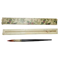 Antique Dutch Stylus Pen in Christmas Box Banded Agate Gilded