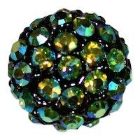 Vintage Button Aurora Borealis Rhinestone Dome Shape