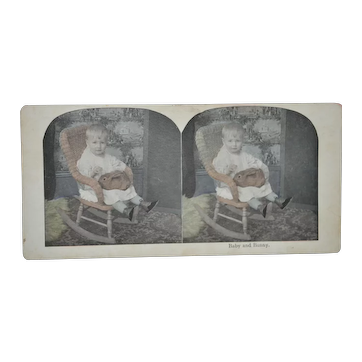 Baby and Bunny Stereoscope Card