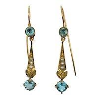 Edwardian 14k Blue Zircon Seed Pearl Earrings Classic design.