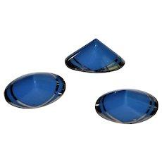 Antique Blue Silver Glass Box Shank Buttons