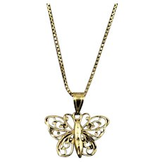 Vintage 14k Gold Butterfly Necklace & 14k Box Chain