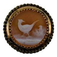 Antique 18k Gold Carved Sardonyx Stud Button Nesting Pheasants