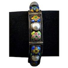 Chinese Export Silver filgree /Pearl/ Enamel Flower Bracelet