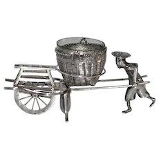 Antique Open Salt Chinese Silver Man/ Cart Signed