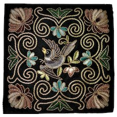 Antique  Chinese Silk /Gold Bird Embroideries