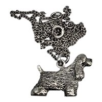 Vintage Cocker Spaniel Show Dog Sterling Silver Pendant and Chain.