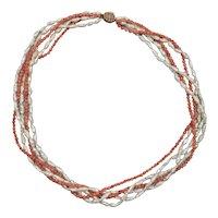 Vintage 14 k Coral Pearl 5 Strand Necklace