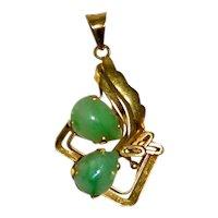 Vintage Designer Jade Pendant 14 kt