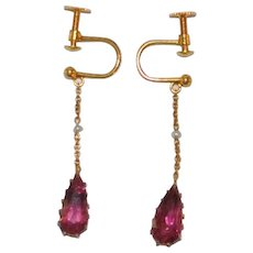 Edwardian 14 kt Tourmaline Seed Pearl Drop Earrings