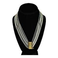 Georgian Seed Pearl Gold Diamond Necklace 4000 Seed Pearls