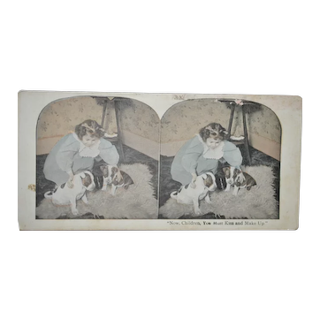 Girl & Puppies Stereoscope Card