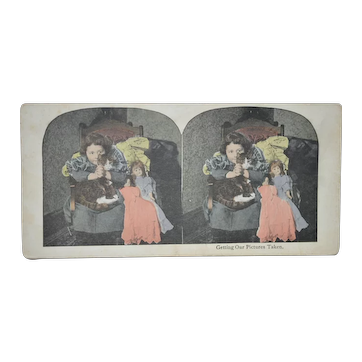 Girls with Dolls &Cat Stereoscope Card C1900